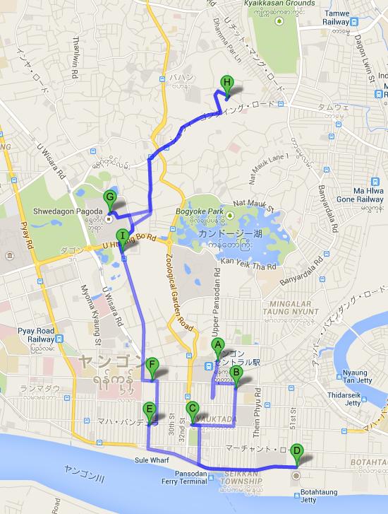 ヤンゴン・セントラル駅 から Happy World Amusement Park   Google マップ