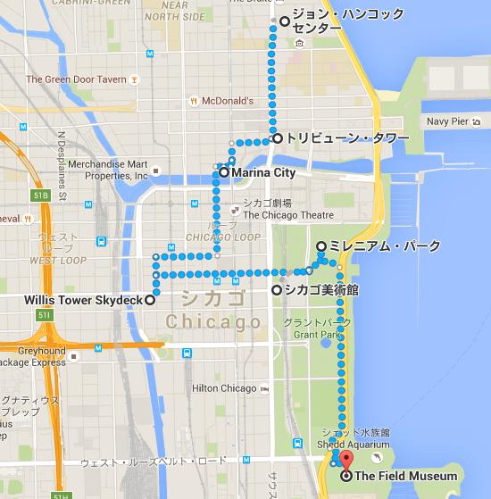 ジョン・ハンコック・センター から The Field Museum   Google マップ