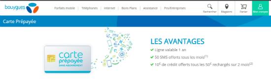 Carte Prépayée Téléphone   Bouygues Telecom