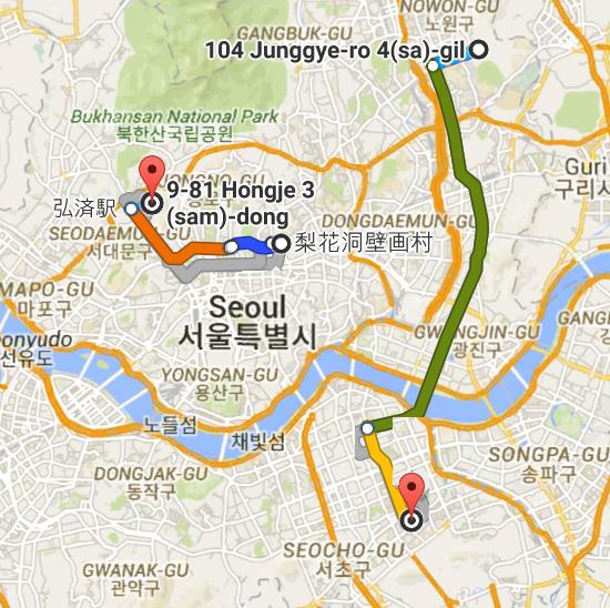 104 Junggye dong Seoul South Korea から 九龍駅 Google マップ